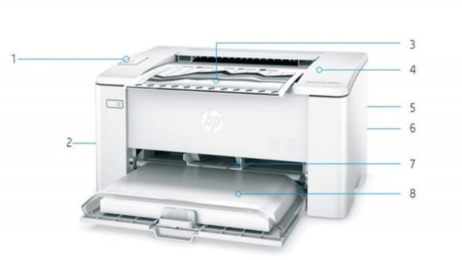 Внешний вид и основные компоненты лазерного принтера HP LaserJet Pro M104w