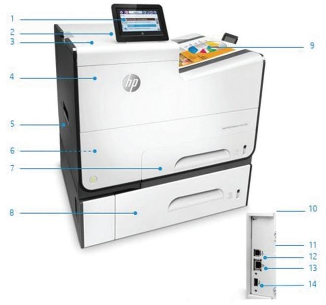 Внешний вид и основные компоненты струйного принтера HP PageWide Enterprise 556xh