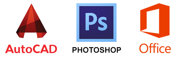 Autodesk AutoCAD, Adobe Photoshop и Microsoft Ofiice