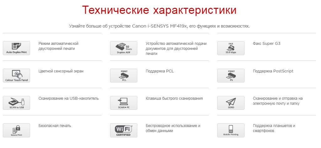 Технические характеристики Canon i-SENSYS MF419x