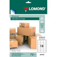 LOMOND (2100135) бумага самоклеющаяся 18 частей А4 (66,7 х 46 мм) 70 г/м2, 1650 листов