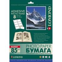 LOMOND 2412053 фотобумага самоклеющаяся глянцевая, 8 частей А4 (60 x 90 мм) 85 г/м2, 25 листов