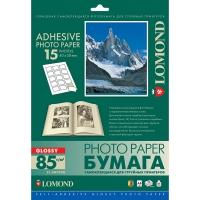 LOMOND 2412063 фотобумага самоклеющаяся глянцевая, 15 частей А4 (40 x 50 мм) 85 г/м2, 25 листов