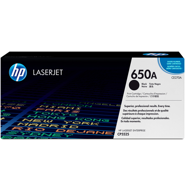 HP 650A, CE270A картридж чёрный для Color LaserJet Enterprise CP5525, M750 (13 500 стр)
