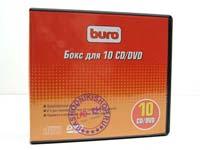 Коробка  для хранения 10 шт CD/DVD, черная, BURO, BU-10CD/DVD