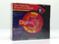 Коробочка для 1-го 8 см CD/DVD на черной подложке (10 шт) Digitex, DCASLB8-01-10CW