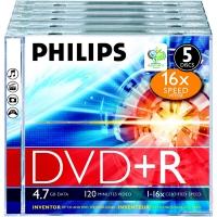 PHILIPS DVD+R диск 16x Jewel Case 5шт, 5734