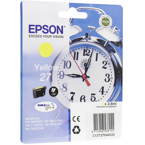 EPSON C13T27044020 картридж жёлтый для WorkForce WF-7110DTW, WF-7610DWF, WF-7620DTWF (300 стр)