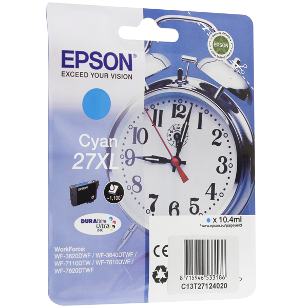 EPSON C13T27124022 картридж голубой для WorkForce WF-7110DTW, WF-7610DWF, WF-7620DTWF (1100 стр)
