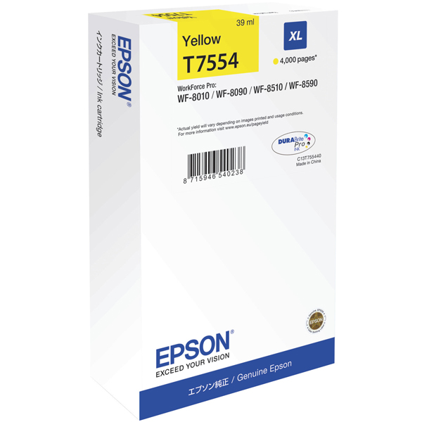 EPSON C13T755440 картридж жёлтый для WorkForce Pro WF-8090DW, WF-8590DWF (4 000 стр)