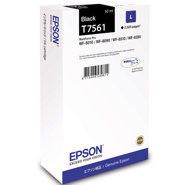 EPSON C13T756140 картридж чёрный для WorkForce Pro WF-8090DW, WF-8590DWF (2 500 стр)