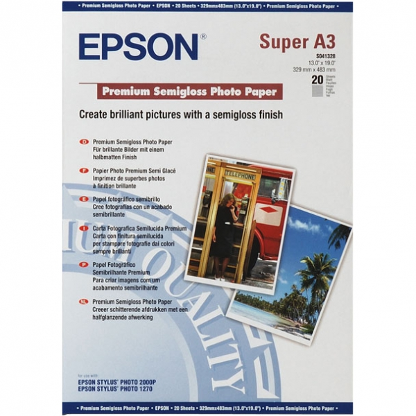 Бумага EPSON C13S041328 Premium Semigloss Photo Paper, 251 г/м2, А3+ (329 x 483 мм) 20 листов
