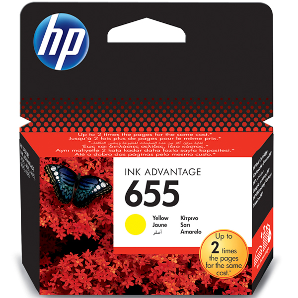 HP 655, CZ112AE картридж жёлтый для Deskjet Ink Advantage 3525, 4615, 4625, 5525 (600 стр)