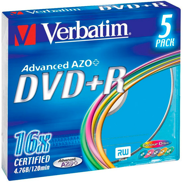 VERBATIM DVD+R диск 16x (.) Colour Slim Case 5 шт, 43556