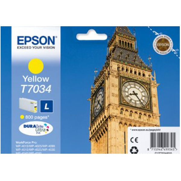 EPSON C13T70344010 картридж жёлтый для WorkForce Pro WP-4015DN, WP-4025DW, WP-4095DN, WP-4515DN, WP-4525DNF, WP-4535DWF, WP-4595DNF (9,6 мл)