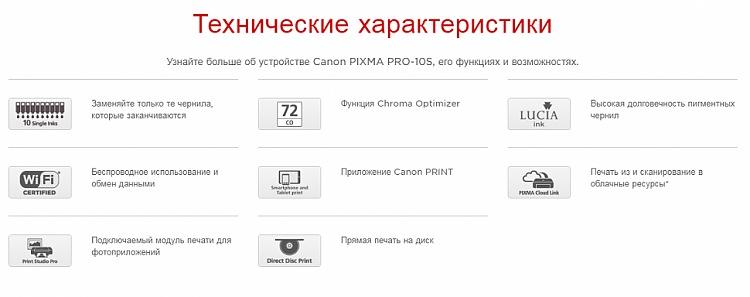 Технические характеристики струйного принтера CANON PIXMA PRO-10S