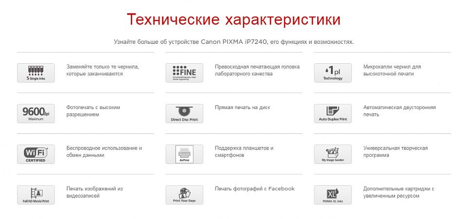 Технические характеристики принтер CANON PIXMA iP7240
