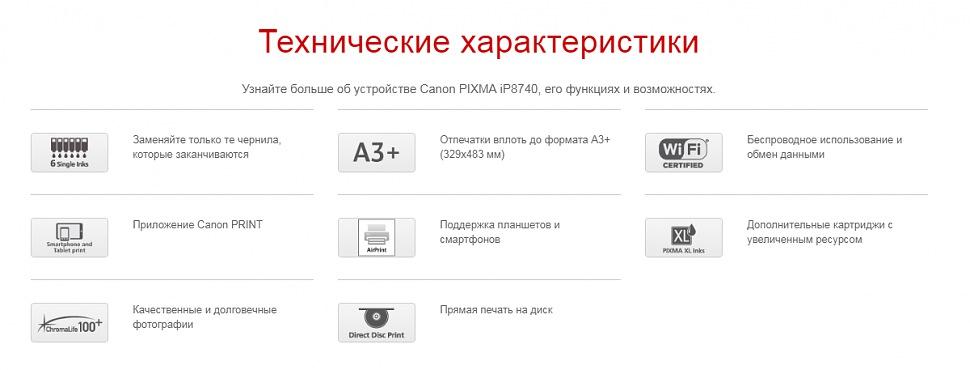 Технические характеристики принтер Canon PIXMA iP8740