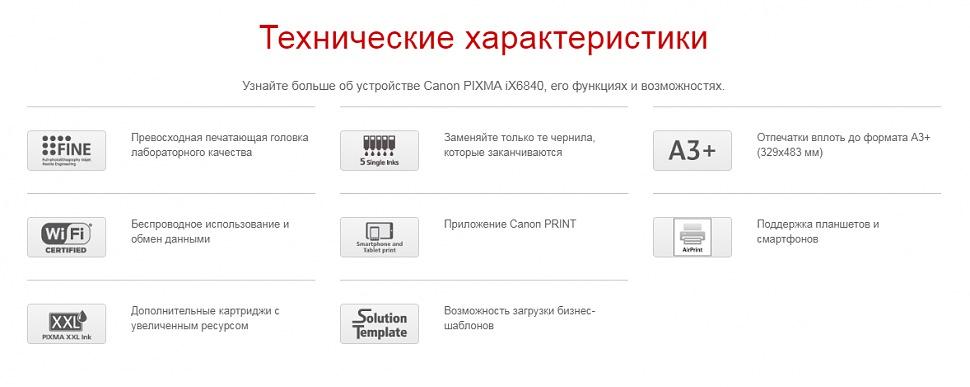 Технические характеристики принтер CANON PIXMA iX6840