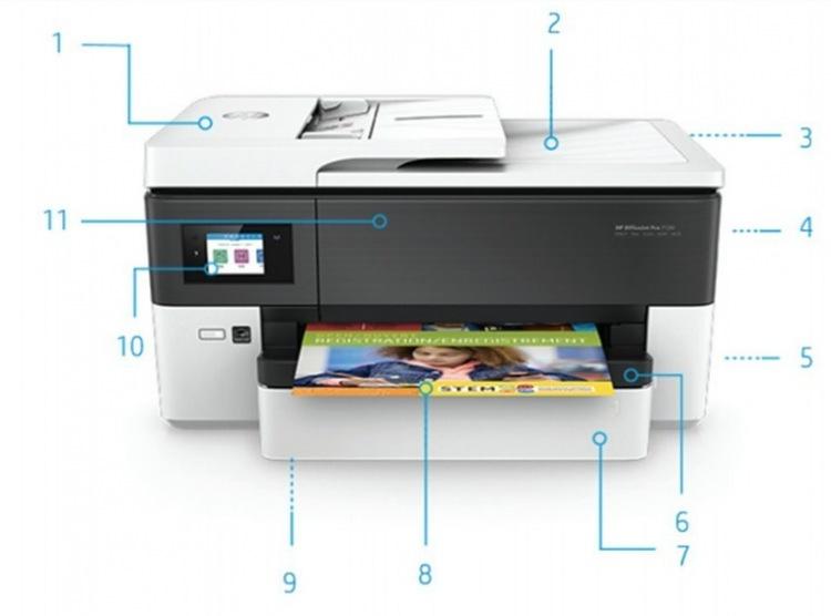 Внешний вид и основные компоненты МФУ HP OfficeJet Pro 7720