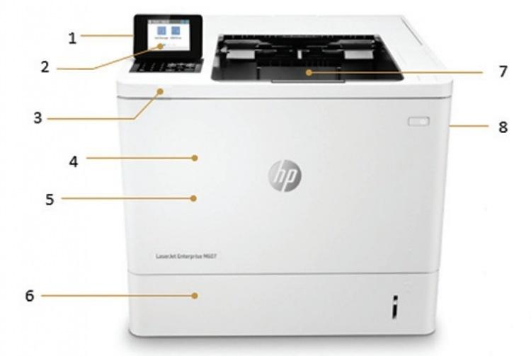 Внешний вид и основные компоненты лазерного принтера HP LaserJet Enterprise M607dn